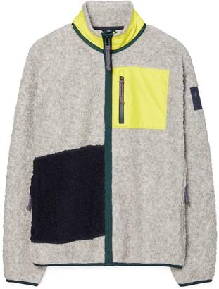 Tory Burch Sherpa Fleece Color-Block Jacket