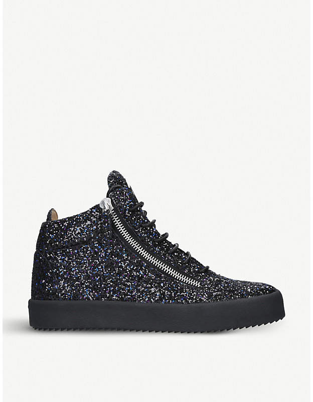 Giuseppe Zanotti Leather and glittered high-top trainers
