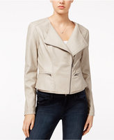Maison Jules Faux-Leather Peplum Moto Jacket, Only at Macy's