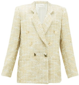 Rodarte Double-breasted Metallic-tweed Suit Jacket - Gold