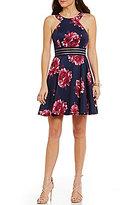 Jodi Kristopher Floral-Print Illusion-Waist Skater Dress