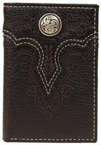Ariat Black Rodeo Embroidered Leather Tri-Fold Wallet