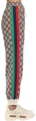 Gucci Gg Cotton Blend Jersey Pants W/ Patch