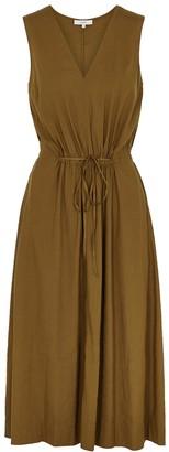 Vince Brown linen-blend midi dress