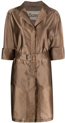 Herno Metallic Belted Single-Breasted Coat