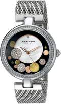 Akribos XXIV Women's AK881SSB Round White Mother of Pearl, Black, Silver, and Gold Dial Three Hand Quartz Bracelet Watch