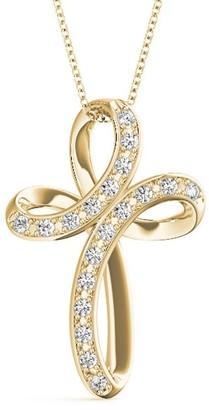 14KT 1/6 CT Twisted Love Diamond Cross Pendant Necklace Amcor Design