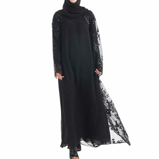 iHAZA Muslim Women Lace Sequin Cardigan Maxi Dress Kimono Open Abaya Robe Kaftan Dubai Long Cardigan Black
