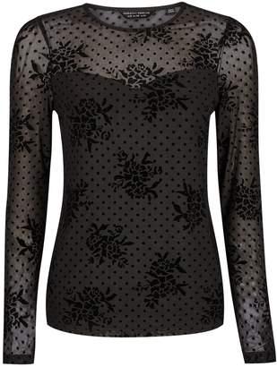 Dorothy Perkins Womens Black Floral Spot Mesh Top, Black