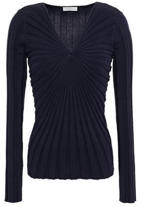 Sandro Justine Gathered Ribbed Cotton-blend Top