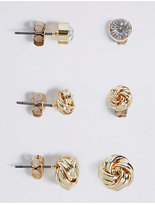 M&S Collection Gold Plated Assorted Mixed Knot Sparkle Trio Earrings Set