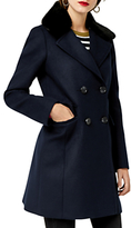 Warehouse Swing Faux Fur Collar Coat, Navy