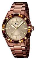 Lotus Women's Quartz Watch with Beige Dial Analogue Display and Brown Stainless Steel Plated Bracelet 15894/1