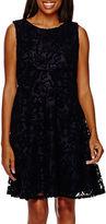 Tiana B Sleeveless Lace Fit-and-Flare Dress