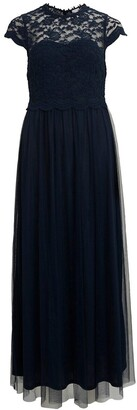 Vila Cotton Mix Maxi Dress with Lace Bodice and Short Sleeves