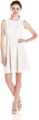 Andrew Marc Women's Sleeveless Lace Fit and Flare