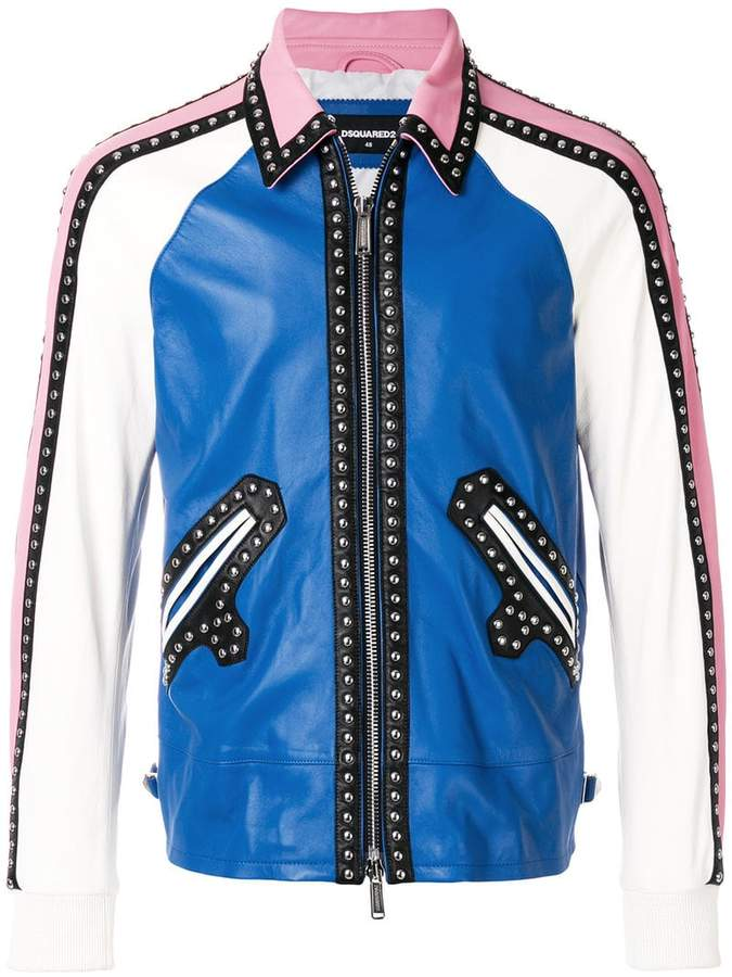 DSQUARED2 studded panelled jacket