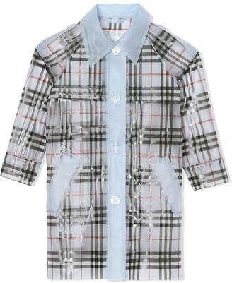 BURBERRY KIDS TEEN check-print waterproof trench coat