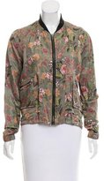 Blank NYC Satin Floral Bomber Jacket