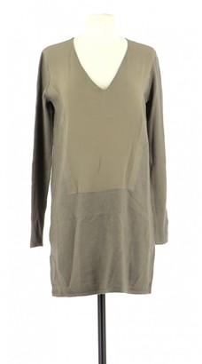 Comptoir des Cotonniers Khaki Wool Dress for Women