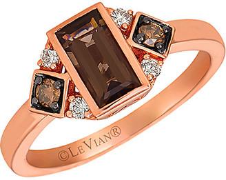LeVian 14K Rose Gold 0.74 Ct. Tw. Diamond & Smoky Quartz Ring