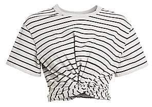 Alexander Wang Women's Striped Twist Crop T-Shirt