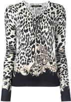 Roberto Cavalli leopard pattern V-neck jumper - women - Silk/Cashmere/Wool - 46