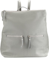 Neiman Marcus Zip-Pocket Square Leather Backpack, Gray