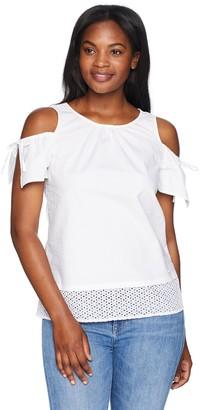 Ellen Tracy Women's Shoulder Focus Poplin Top W/Eyelet Lace