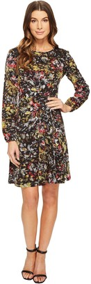 London Times Women's Sketch Flower Full Skirt Dress with Lace Applique at Shoulder