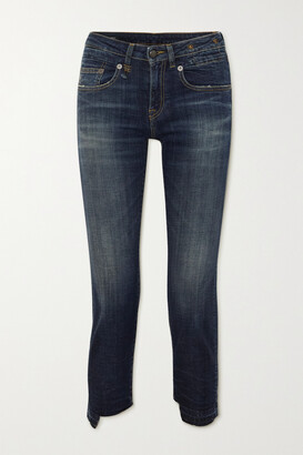 R13 - Boy Straight Frayed Mid-rise Jeans - Blue