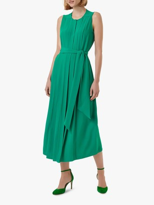 Hobbs Deanna Tie Belt Midi Dress, Green