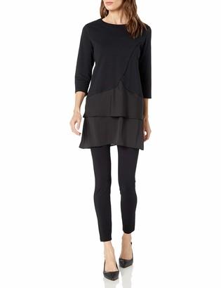 Joan Vass Women's Cotton Interlock Tunic with Woven Hem