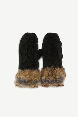 Ardene Faux Fur Cable Knit Mittens