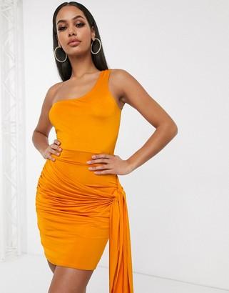 Femme Luxe one shoulder drape side bodycon dress in rust orange