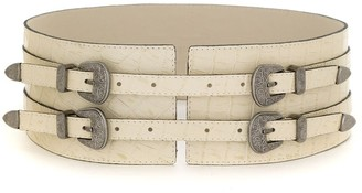 Olympiah four buckles wide leather belt