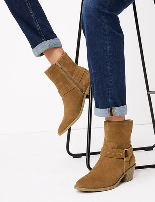 Marks and Spencer Suede Stirrup Block Heel Ankle Boots