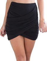 Allegrace Women Sexy Wrap Runched Stretch Draped Short Mini Pleated Skirts M