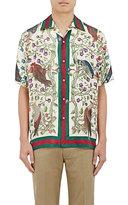 Gucci Men's Pheasant-Print Silk Bowling Shirt