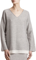 ATM Anthony Thomas Melillo Plated V Neck Sweater
