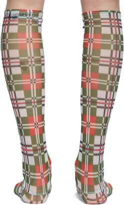 Chopova Lowena Green & Red Mesh Plaid Socks
