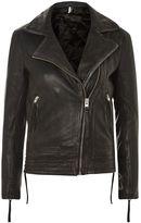 Tall leather biker jacket
