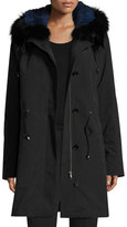 Trilogy Hooded Fur-Trim Coat w/ Removable Fur Lining, Black/Blue
