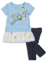 Flapdoodles Little Girls Floral Top and Dotted Leggings Set