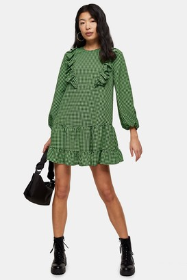 Topshop PETITE Green Ruffle Gingham Mini Dress