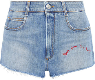 Stella McCartney Distressed Embroidered Denim Shorts