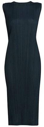 Pleats Please Issey Miyake Ramie Sleeveless Pleated Dress