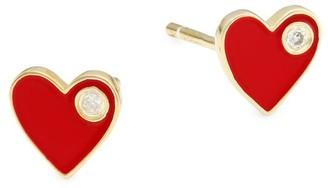 Jennifer Zeuner Jewelry Enamel & Diamond Heart Stud Earrings