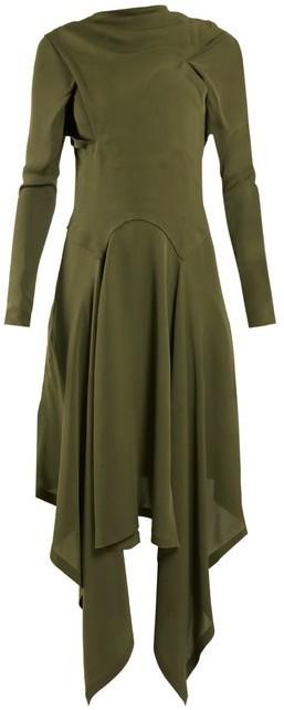J.W.Anderson Draped Asymmetric High Neck Silk Dress - Womens - Khaki