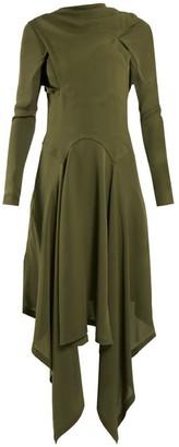 J.W.Anderson Draped Asymmetric High-neck Silk Dress - Womens - Khaki